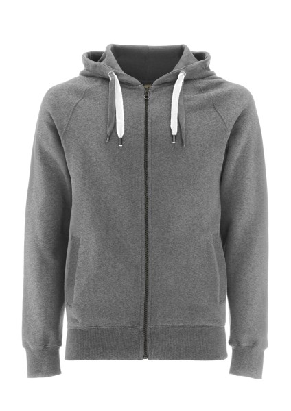 Melierter Bio Zip-Up Hoody