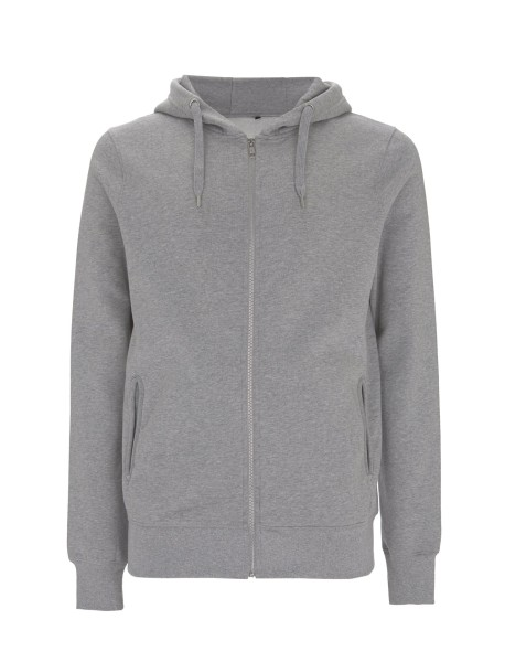 Jogging Zip-Up Hoody, melange grau, front