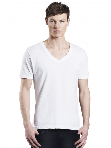 Mens V-Neck T-Shirt, weiß